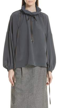 Tibi Drawstring Collar Silk Top