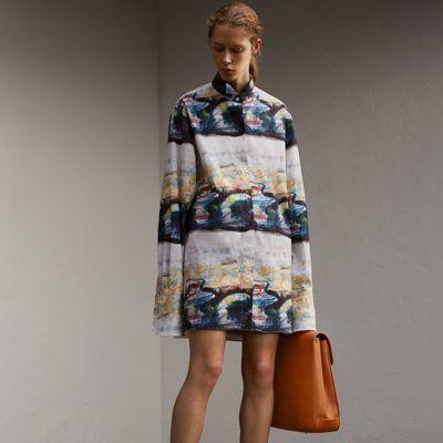 Burberry Burberry Reclining Figure: Bunched Print Stretch Cotton Shirt Dress