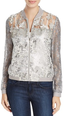 T Tahari Fatima Shimmer Lace Bomber Jacket $188 thestylecure.com