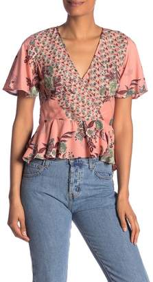 Angie Floral Surplice Short Sleeve Blouse