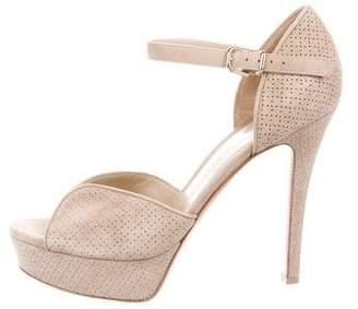 Gianvito Rossi Perforated Suede Platform Sandals