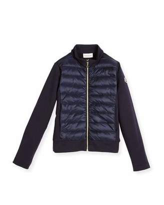Moncler Zip-Up Quilted & Knit Jacket, Size 8-14 $360 thestylecure.com