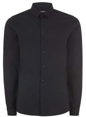 Topman Mens Black Ultra Muscle Fit Stretch Long Sleeve Shirt