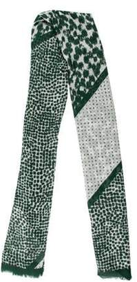 Stella McCartney Printed Knit Scarf Green Printed Knit Scarf