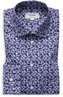 Eton Contemporary Fit Palm Frond Dress Shirt