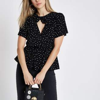 River Island Womens Black polka dot twist front top
