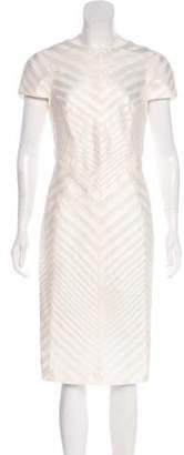 J. Mendel Satin-Paneled Midi Dress