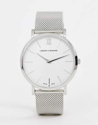 Larsson & Jennings Lugano mesh watch in silver 40mm