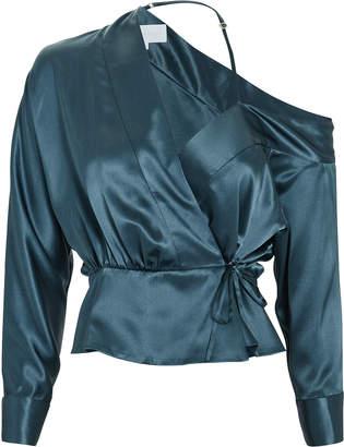 Michelle Mason Cold Shoulder Wrap Top