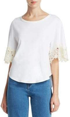 See by Chloe Lace Embroidered Tee