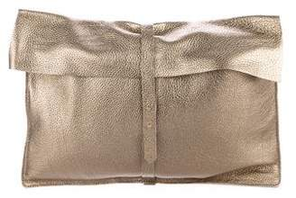 Cuyana Metallic Leather Flap Clutch