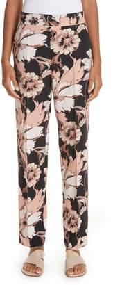 Etro Floral Print Straight Leg Wool Pants