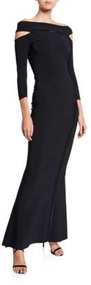 Chiara Boni Off-the-Shoulder 3/4-Sleeve Dress with Cutouts