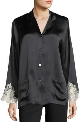 Lise Charmel Lace-Trim Silk Button-Front Lounge Top