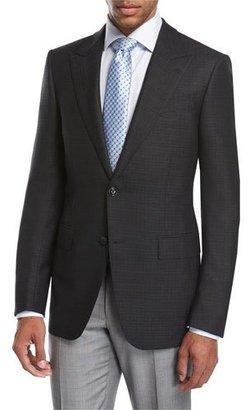 Ermenegildo Zegna Textured Wool-Silk Peak-Lapel Sport Coat, Black $2,495 thestylecure.com