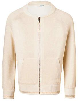 John Lewis Girls' Lurex Knitted Bomber Jacket, Gardenia