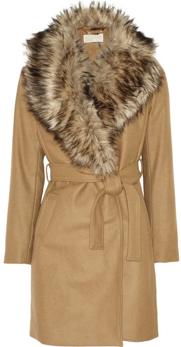 MICHAEL Michael Kors Detachable faux fur collar wool-blend coat