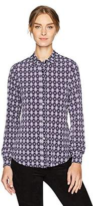Jones New York Women's New Foulard Print BTN Front Shirt