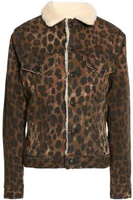 R 13 Faux Shearling-Trimmed Leopard-Print Denim Jacket