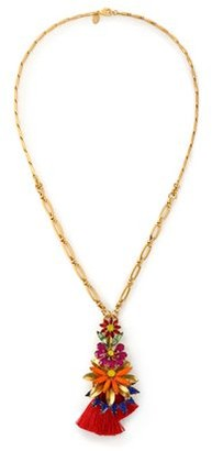 Elizabeth Cole 24-Karat Gold-Plated Swarovski Crystal Stone And Tassel Necklace