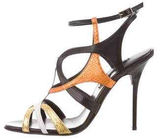 Diego Dolcini Leather Square-Toe Sandals
