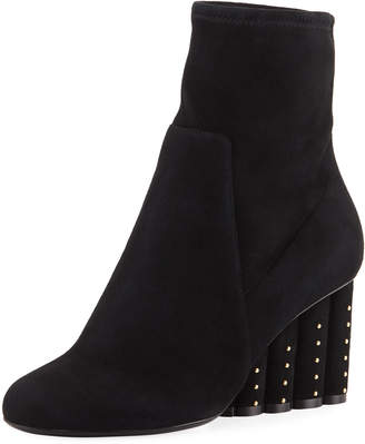 Salvatore Ferragamo Suede Booties with Studded Heel