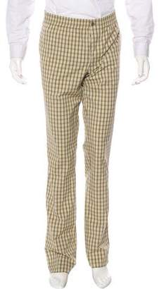 Hermes Plaid Flat Front Pants