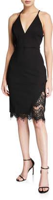 Astr Peeking Lace V-Neck Bodycon Dress