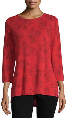 Liz Claiborne 3/4 Sleeve Crew Neck Floral T-Shirt-Womens