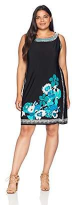 Sandra Darren Women's Plus Size 1 Pc Sleeveless Border Printed Ity Necklace Dress
