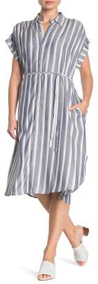 Como Vintage Striped Tie Waist Shirt Dress