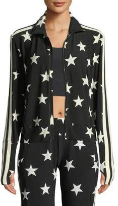 Norma Kamali Star-Print Side Stripe Turtle Jacket