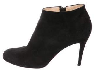 Christian Louboutin Round-Toe Suede Booties Black Round-Toe Suede Booties