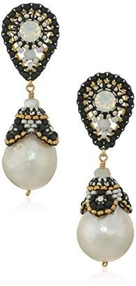 Miguel Ases Beaded Cap Freshwater Pearl Contrast Post Teardrop Earrings