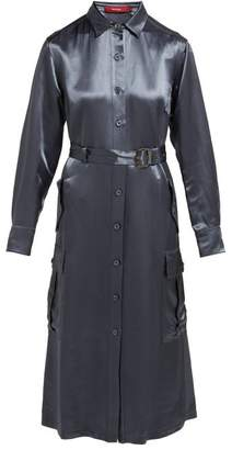 Sies Marjan Louise Washed Satin Shirtdress - Womens - Navy