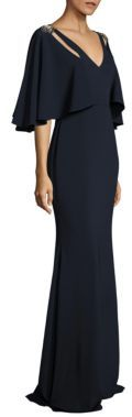Badgley Mischka Cutout Cape Gown $890 thestylecure.com