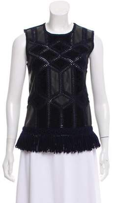 Derek Lam Embroidered Leather and Wool Top black Embroidered Leather and Wool Top