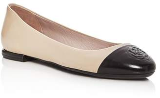 Taryn Rose Women's Rosa Leather Cap Toe Ballet Flats
