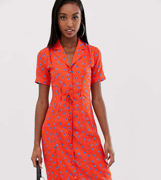 Fashion Union Tall fitted midi shirt dress in floral