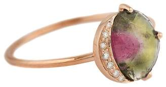 Celine Daoust Watermelon Tourmaline Diamond Healing Line Ring
