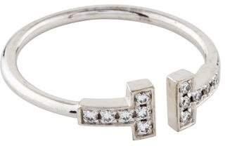 Tiffany & Co. 18K Diamond T Wire Ring