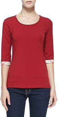 Burberry 3/4-Sleeve Check-Cuff Jersey Tee