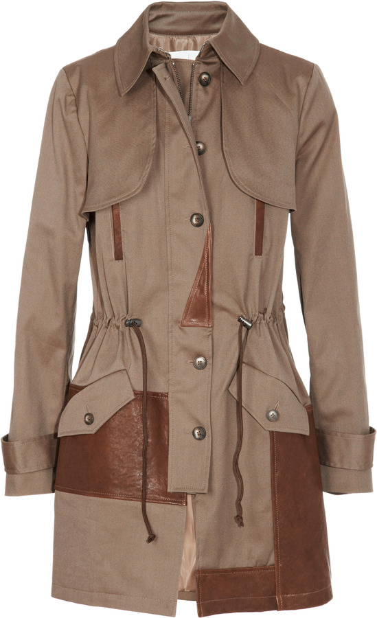 Thakoon Leather-Trimmed Canvas Trench Coat