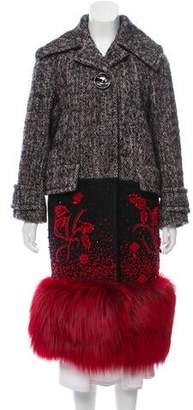 Prada 2017 Embellished Tweed Fur-Trimmed Coat
