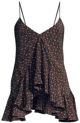 Michael Kors Floral Ruffle Silk Handkerchief Camisole