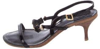 Tory Burch Patent Leather Logo Sandals