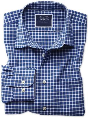 Classic Fit Non-Iron Oxford Royal Blue and White Grid Check Cotton Shirt Single Cuff Size Large