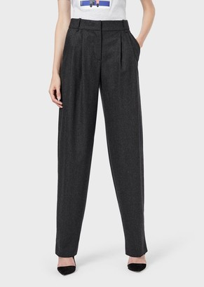 Giorgio Armani Wide-Fit Trousers In Stretch Flannel