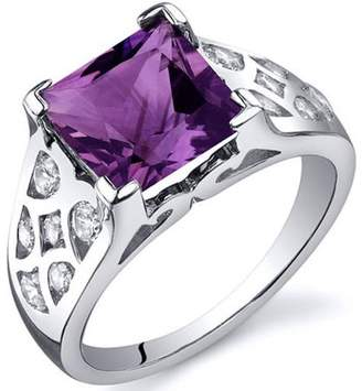 Oravo 2.25 Carat T.G.W. Amethyst Rhodium-Plated Sterling Silver Engagement Ring