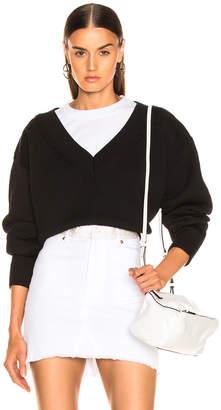 Alexander Wang Mix Media Crewneck Sweater in Black | FWRD